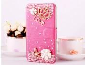 Фирменный роскошный чехол-книжка безумно красивый декорированный бусинками и кристаликами на HTC Desire 620G D..