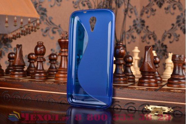 Фирменная ультра-тонкая полимерная из мягкого качественного силикона задняя панель-чехол-накладка для HTC Desire 620G синяя