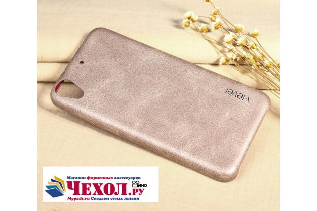 Фирменная премиальная элитная крышка-накладка из тончайшего прочного пластика и качественной импортной кожи  для HTC Desire 626 /626 G+  Dual Sim  Ретро под старину золотая