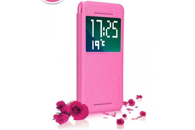 Фирменный оригинальный чехол-книжка для HTC Desire Eye розовый кожаный с окошком для входящих вызовов