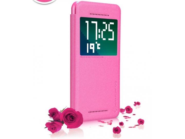 Фирменный оригинальный чехол-книжка для HTC Desire Eye розовый кожаный с окошком для входящих вызовов..