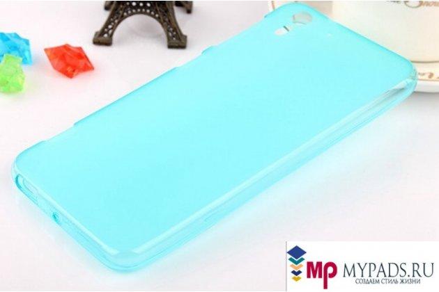 Фирменная ультра-тонкая полимерная из мягкого качественного силикона задняя панель-чехол-накладка для HTC Desire Eye голубая