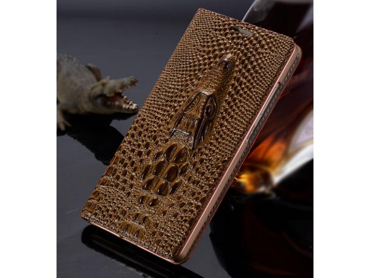 Фирменный роскошный эксклюзивный чехол с объёмным 3D изображением кожи крокодила коричневый для HTC Desire Eye..