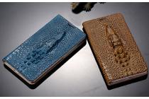 Фирменный роскошный эксклюзивный чехол с объёмным 3D изображением кожи крокодила коричневый для HTC Desire Eye M910X . Только в нашем магазине. Количество ограничено