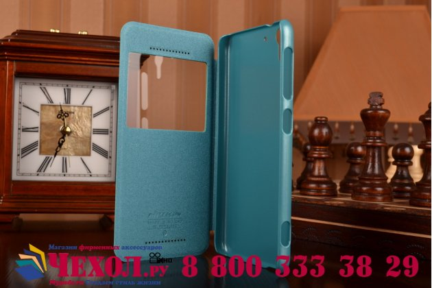 """Фирменный оригинальный чехол-книжка для HTC Desire Eye 5.2"""" голубой кожаный с окошком для входящих вызовов"""