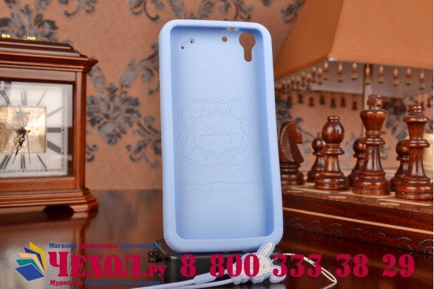 """Фирменная необычная уникальная полимерная мягкая задняя панель-чехол-накладка для HTC Desire Eye """"тематика Андроид в черничном шоколаде"""""""