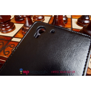 """Фирменный оригинальный вертикальный откидной чехол-флип для HTC Desire Eye черный из качественной импортной кожи """"Prestige"""" Италия"""