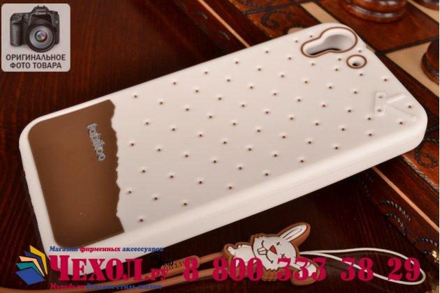 """Фирменная необычная уникальная полимерная мягкая задняя панель-чехол-накладка для HTC Desire Eye """"тематика Андроид в Белом Шоколаде"""""""