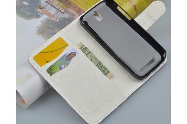 """Фирменный уникальный необычный чехол-книжка для HTC Desire SV T326e """"тематика британский флаг"""""""
