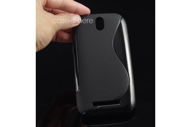 Фирменная ультра-тонкая полимерная из мягкого качественного силикона задняя панель-чехол-накладка для HTC Desire SV T326e черная