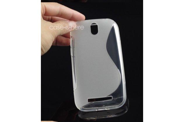 Фирменная ультра-тонкая полимерная из мягкого качественного силикона задняя панель-чехол-накладка для HTC Desire SV T326e белая