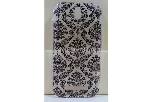 Фирменная роскошная задняя панель-чехол-накладка с расписным узором для HTC Desire SV T326e прозрачная черная