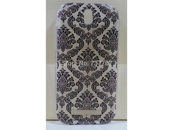 Фирменная роскошная задняя панель-чехол-накладка с расписным узором для HTC Desire SV T326e прозрачная черная..