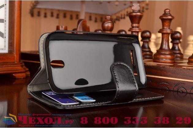 Фирменный чехол-книжка из качественной импортной кожи с подставкой застёжкой и визитницей для ХТС Дезайр СВ черный
