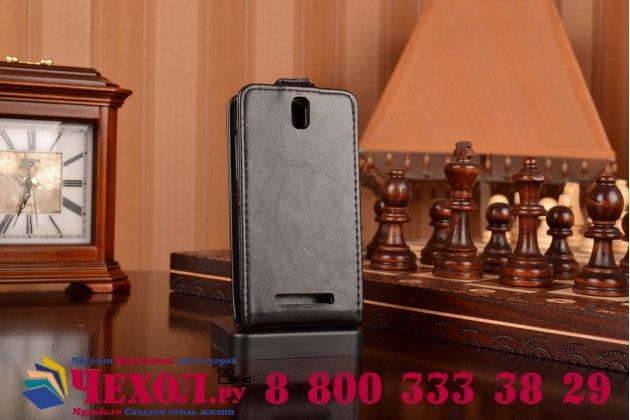 Фирменный оригинальный вертикальный откидной чехол-флип на HTC Desire SV T326e черный кожаный