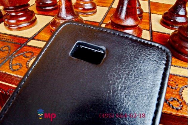 """Фирменный оригинальный вертикальный откидной чехол-флип для HTC One S (Z520e) черный натуральная кожа """"Prestige"""" Италия"""