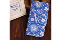 """Фирменный уникальный необычный чехол-книжка для HTC One M7 Dual Sim (801s) """"тематика Олени в цветах"""""""