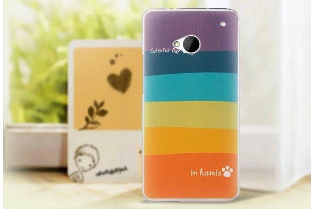 """Фирменная необычная уникальная из легчайшего и тончайшего пластика задняя панель-чехол-накладка для HTC One M7 Dual Sim (801s) """"тематика Все цвета Радуги"""""""