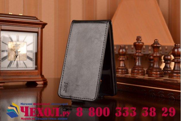 Фирменный оригинальный вертикальный откидной чехол-флип для HTC One M7 Dual Sim (801s) черный кожаный