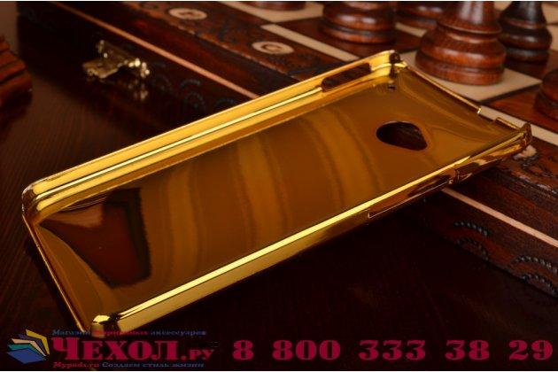 Ультра-тонкая пластиковая задняя панель-крышка для HTC One M7 Dual Sim (801s) лаковая кожа крокодила золотая