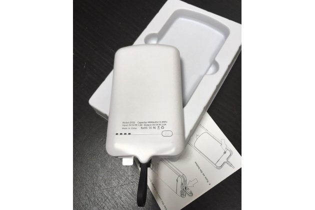 Чехол-бампер на клейкой основе со встроенным усиленным аккумулятором большой повышенной расширенной ёмкости 4000mAh для HTC One M9/ M9s белый + гарантия