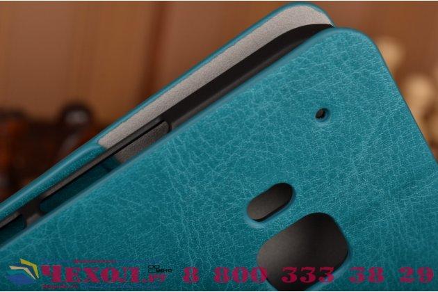 Фирменный чехол-книжка из качественной импортной кожи с подставкой и визитницей для HTC One M9/ M9 Prime Camera Edition бирюзовый