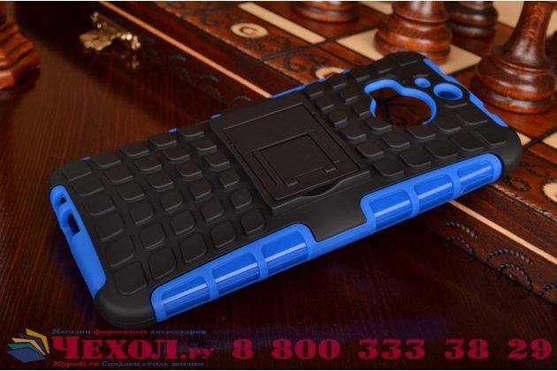 Противоударный усиленный ударопрочный фирменный чехол-бампер-пенал для HTC One M9 Plus синий
