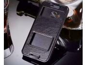 Фирменный оригинальный чехол-книжка для HTC One M9/ M9s/M9 Prime Camera Edition черный кожаный с окошком для в..