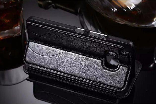 Фирменный оригинальный чехол-книжка для HTC One M9/ M9s/M9 Prime Camera Edition черный кожаный с окошком для входящих вызовов и свайпом