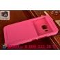 Фирменный оригинальный чехол-книжка для HTC One M9/ M9s/ M9 Prime Camera Edition розовый кожаный с окошком для..