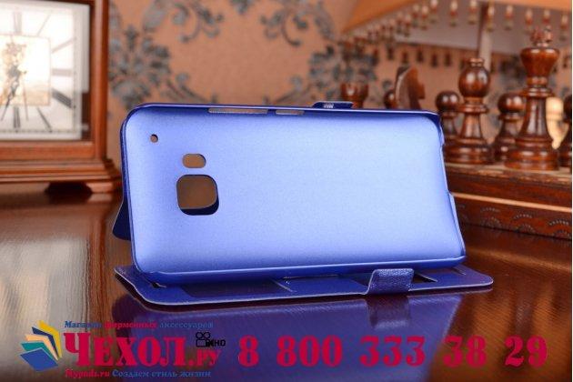 Фирменный оригинальный чехол-книжка для HTC One M9/ M9s/ M9 Prime Camera Edition фиолетовый кожаный с окошком для входящих вызовов и свайпом