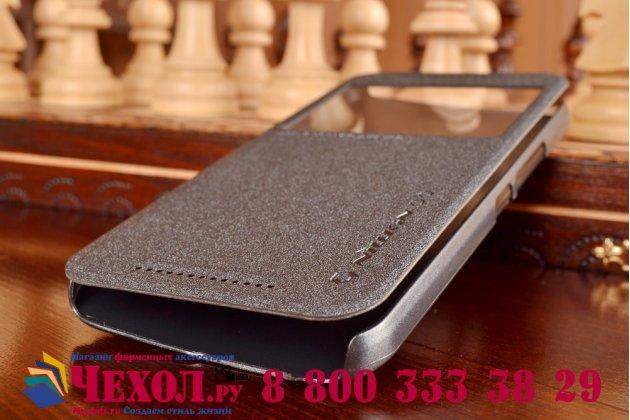Фирменный оригинальный чехол-книжка для HTC One M9/ M9s/ M9 Prime Camera Edition черный кожаный с окошком для входящих вызовов