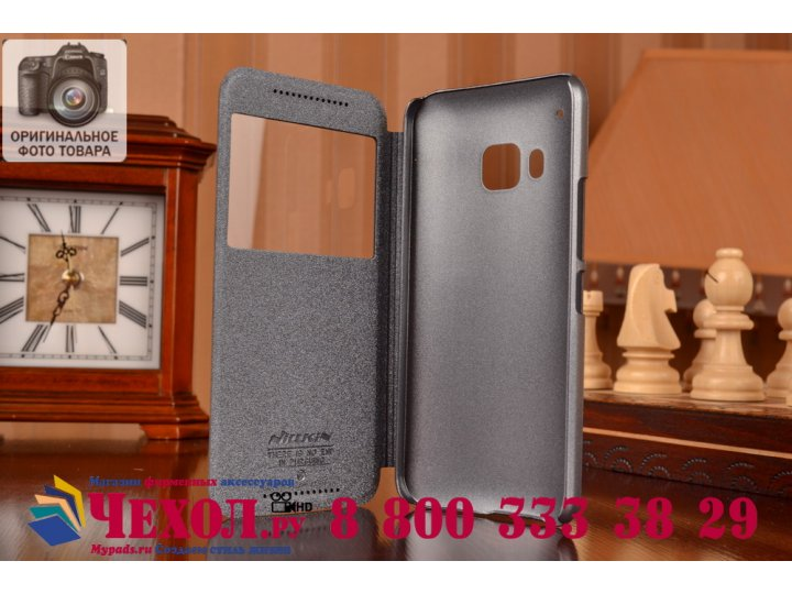 Фирменный оригинальный чехол-книжка для HTC One M9/ M9s/ M9 Prime Camera Edition черный кожаный с окошком для ..
