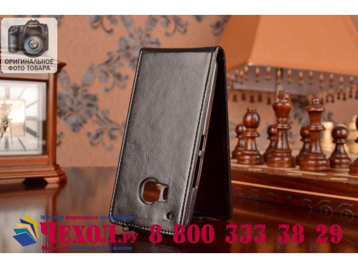Фирменный оригинальный вертикальный откидной чехол-флип для HTC One M9/ M9s/M9 Prime Camera Edition черный кож..