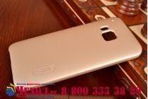 Фирменная задняя панель-крышка-накладка из тончайшего и прочного пластика для HTC One M9/ M9s/ M9 Prime Camera Edition золотая