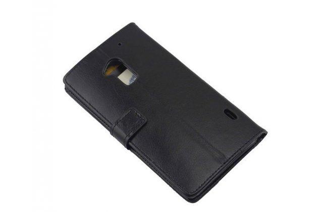 Фирменный чехол-книжка из качественной импортной кожи с подставкой застёжкой и визитницей для HTC One Max T6 (803s) черный