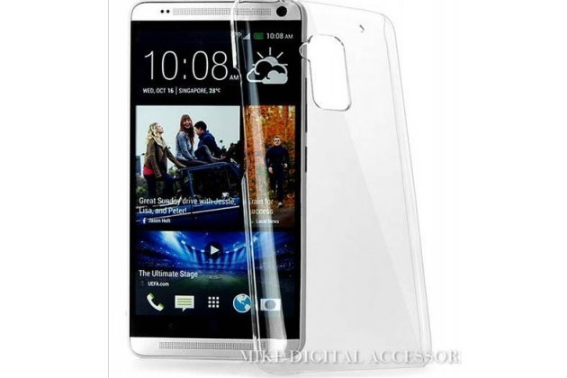 Фирменная ультра-тонкая пластиковая задняя панель-чехол-накладка для HTC One Max T6 (803s) прозрачная