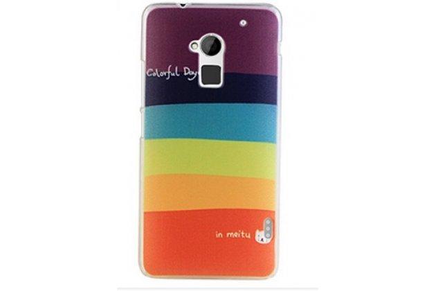 """Фирменная необычная уникальная из легчайшего и тончайшего пластика задняя панель-чехол-накладка для HTC One Max T6 (803s) """"тематика Все цвета Радуги"""""""