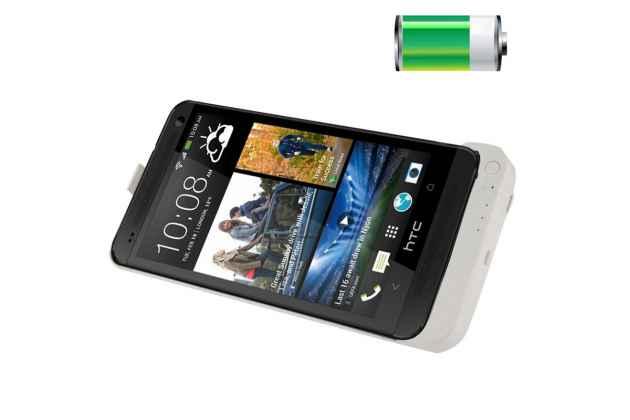 Чехол-бампер со встроенной усиленной мощной батарей-аккумулятором большой повышенной расширенной ёмкости 4200mah для HTC One Max T6 (803s) белый + гарантия