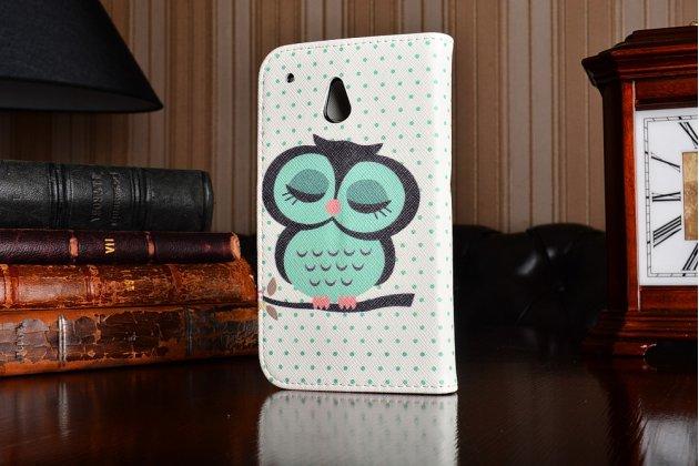 """Фирменный уникальный необычный чехол-книжка для HTC One Mini """"тематика Сова"""""""