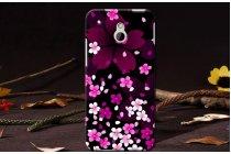 """Фирменная необычная уникальная пластиковая задняя панель-чехол-накладка для HTC One Mini""""тематика Примула фиолетовая"""""""