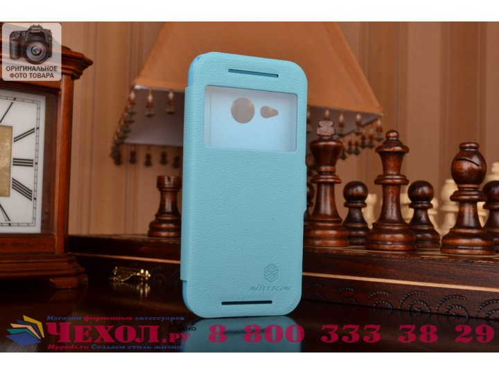 Фирменный чехол-книжка для HTC One mini 2 голубой кожаный с окошком для входящих вызовов..