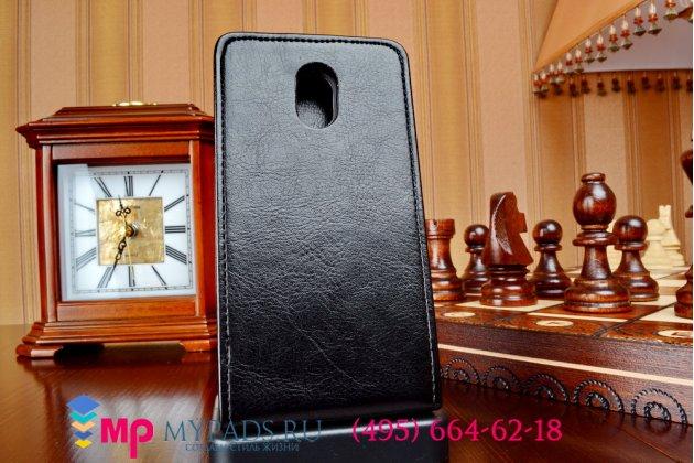 Фирменный оригинальный вертикальный откидной чехол-флип для HTC Desire 210 Dual Sim черный кожаный