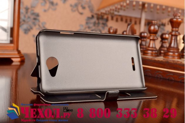 Фирменный чехол-книжка для HTC Desire 516 черный с окошком для входящих вызовов и свайпом водоотталкивающий
