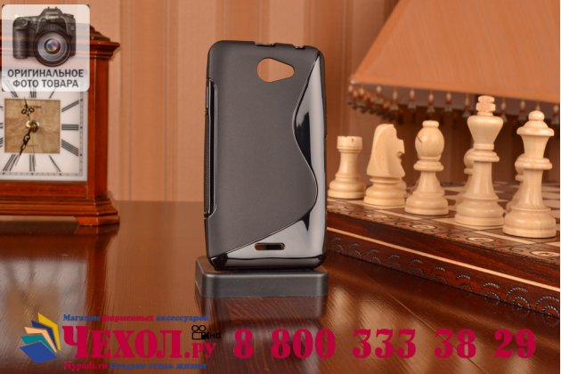 Фирменная задняя полимерная панель-крышка-накладка из ультра-тонкого силикона для HTC Desire 516 черная