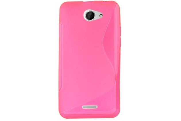 Фирменная полимерная задняя панель-крышка-накладка из силикона для HTC Desire 516 розовая