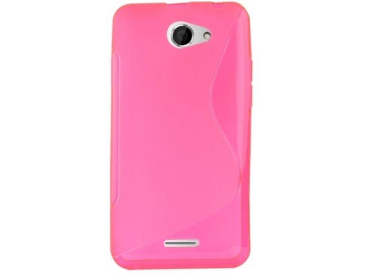 Фирменная полимерная задняя панель-крышка-накладка из силикона для HTC Desire 516 розовая..