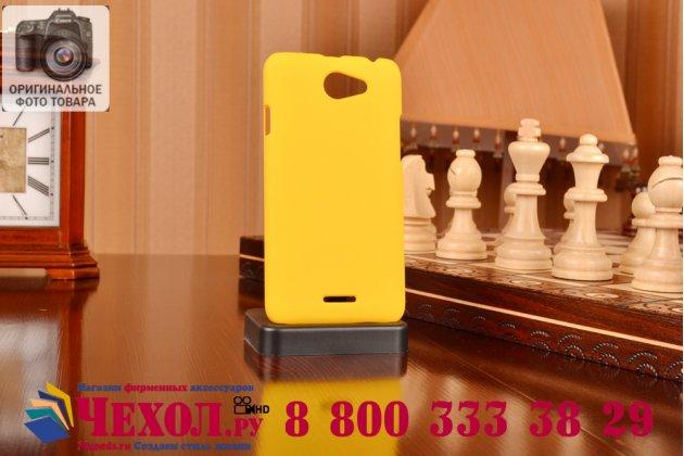 Фирменная задняя панель-крышка-накладка из тончайшего и прочного пластика для HTC Desire 516 желтая