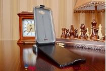 Фирменный оригинальный вертикальный откидной чехол-флип для HTC Desire 516 Dual sim черный кожаный