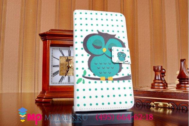 """Фирменный уникальный необычный чехол-книжка для HTC Desire 516 Dual sim """"тематика Сова"""""""